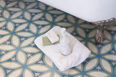 luxe-bath-cement-tile-petalo Silver Lake, Guest Bath, Bath Remodel, Mosaic, Flooring, Interior Design, Stuff To Buy, Cement, Tiles