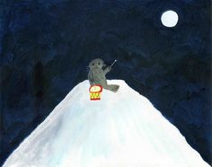 """Mimei Ogawa fairy tale """"The Moon and the Seal"""" the mother seal drums thinking of her lost child"""