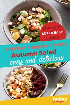 Toss together your favorite fall ingredients like crispy apples and crunchy beets to create this simple autumn salad for an easy and nutritious lunch. Customize this healthy lunch idea by adding your choice of dressing or swapping out the protein. This autumn salad makes a great lunch at home or lunch for work. | Holley Grainger - Cleverful Living Side Salad Recipes, Healthy Salad Recipes, Lunch Recipes, Easy Salads, Summer Salads, Dinner Salads, How To Make Salad, Vegetable Salad, Autumn