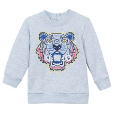 KENZO light grey unisex sweater for kids from www.kidsandcouture.com