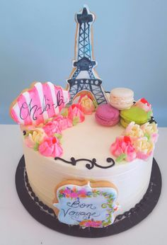 French theme Eiffel tower cake by Sweet Grace Anna's with sugar cookies