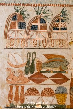 Bread, quails, tilapia and carp fish, figs, raisins, and wine are awaiting preparation in this ancient kitchen scene. Tomb of Menna. 18th dynasty, ancient Egypt.
