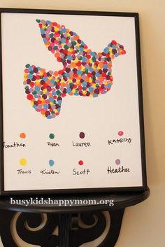 DIY mother's day gifts : DIY Fingerprint Dove.. Could have all of us siblings and the grand kids do it!