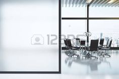 Modern white meeting room with copyspace photo