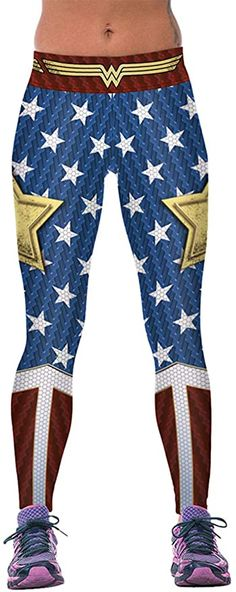TOPMODA Legging Mujer Superheroes Batman Capitan America Superman Spiderman Hulk Wonder Woman Iron Man Marvel Malla Push UP Comic