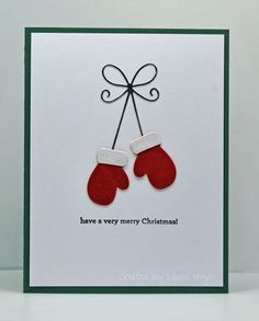 Hi everyone!  Today's card is a very quick, clean and simple card using one of the new Memory Box Christmas dies! I cut the mittens ...