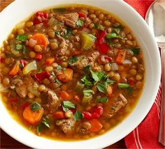 Lentil Soup with Beef & Red Pepper