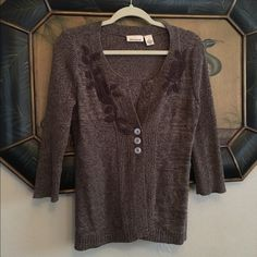 DKNY cardigan Brown cardigan with hand crocheted detail by DKNY DKNY Sweaters Cardigans