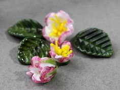Handmade Lampwork Beads  set of 6 Glass Flowers Beads Glass