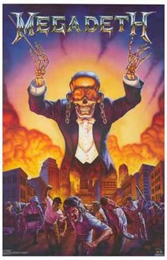 An awesome Megadeth poster featuring Ed Repka's Vic Rattlehead conducting a Symphony of Destruction! Ships fast. 11x17 inches. Check out the rest of our great selection of Megadeth posters! Need Poste