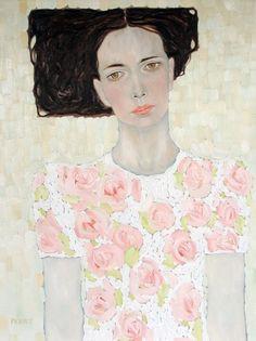 Ryan Pickart.  Woman with pink flowered shirt and square hair