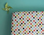Crib SHEET in dots: aqua green gray coral pink & black
