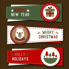 Three irregular christmas banners in vintage style Free Vector