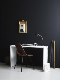 black Walls #study #desk #workarea