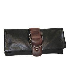 This Nino Bossi Handbags Black & Brown West Side Clutch by Nino Bossi Handbags is perfect! #zulilyfinds