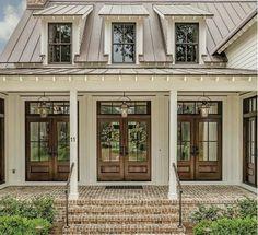 42 Ideas farmhouse exterior colors metal roof dream homes for 2019 Exterior House Colors, Exterior Design, Exterior Paint, Exterior Siding, Exterior Windows, Farmhouse Exterior Colors, Door Design, Wood French Doors Exterior, Brown Brick Exterior
