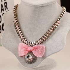 Pink Bow Statement Necklace Beautiful and new! Jewelry Necklaces