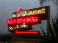 Doc Wilkinson's Hot Springs Hot Springs, Signage, Neon Signs, Projects, Log Projects, Spa Water, Blue Prints, Billboard, Signs