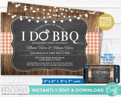 I Do BBQ Couples Shower Invite Engagement Party Coral Invitation Download Wedding Rustic Lights Check Personalize Editable Printable WCWI001 Engagement Invitations, Shower Invitations, Invite, Printing Websites, Printing Services, Online Printing, I Do Bbq, Event Page
