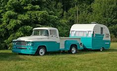 Oh goodness...how cool is this! Old pickup & camper