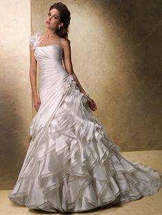 A-line One Shoulder Wedding Dresses