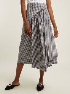 Pleat-front gingham cotton midi skirt | Simone Rocha | MATCHESFASHION.COM UK