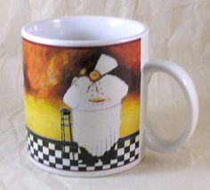 Sakura Al Dente Jennifer Garant Fat Chef Pasta Coffee Mug Cup Stoneware