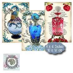 8 Vintage Perfume Bottle Tags by PixieTreasuresDesign on Etsy #scrapbooking #crafts #tags