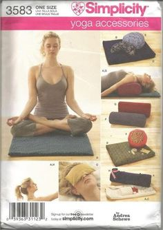 Simplicity 3583, Yoga accessories, by Andrea Schewe,(c)2007. Makes: Bag Yoga Mat Wedge Meditation Pillow Eye Bag Floor Pillow Round Meditation Pillow Bolster Yoga Strap    Pattern is uncut and in original factory folds.    Corner bumps from storage.