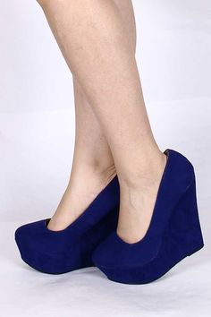 BLUE FAUX SUEDE PLATFORM WEDGES...Put on my blue suede shoes and suddenly everything's right!