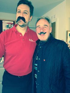 Andy & Vic re-enacting Movember one year on… this year with our marvellous fake 'taches!