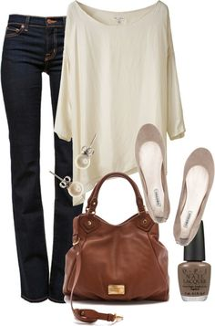 White Off the Shoulder Oversized Top + Dark Denim + Nude Ballet Flats + Brown Satchel + Dainty Accessories, LOVE except for the nail polish