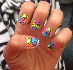 Puzzle piece nail design