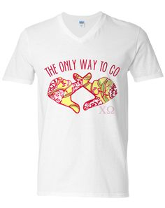 Chi Omega Bid Day Hands V-Neck Adam Block Design