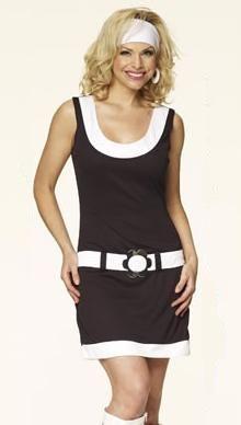 Mod GoGo Black  White Dropwaist mini dress, Headband, Earrings, Belt  Sizes 10 ~ 18 | Plus Size Fancy Dress | 60s 70s Fancy Dress | GW2421 www.lingerieseduction.co.uk/fancydress.htm