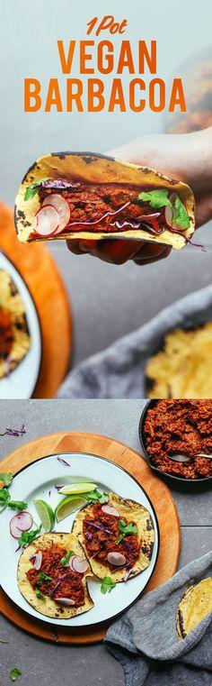 AMAZING Vegan Barbacoa! 1 Pot, simple ingredients, SO hearty, flavorful, and tasty! #vegan #glutenfree #barbacoa #plantbased #recipe #minimalistbaker #dinner