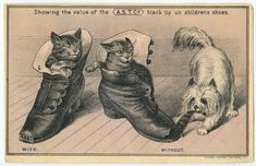 Thos. E. Paxton Boots, Shoes and Slippers Victorian Trade Card Front with Cats, Dog and Shoes, ca. late 1800s ~ The Graphics Fairy