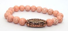 Coral Colored Magnesite and Copper Stretch Bangle Bracelet | AyaDesigns - Jewelry on ArtFire