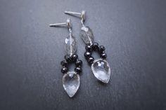 Monochrome Gemstone Earrings Sterling Silver by FountenEnFire