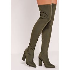 Missguided Pointed Toe Neoprene Over The Knee Boot ($96) ❤ liked on Polyvore featuring shoes, boots, khaki, over-the-knee high-heel boots, pointed toe boots, thigh high heel boots, above the knee boots and above-knee boots