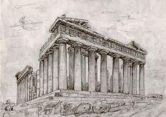 The Parthenon Temple Greek Buildings, Famous Buildings, Ancient Buildings, Ancient Architecture, Architecture Tattoo, Architecture Sketchbook, Ancient Greek Art, Ancient Greece, Parthenon Greece