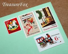 Reserved Custom Order for kforbriger .. Custom order of vintage postage stamp with a winter and Christmas theme for mailing Wedding invitations. Sold on Etsy by TreasureFox, $146.25