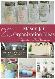 20 Mason Jar Organization Ideas.