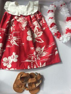 "Hawaiian Muumuu/Doll Dress for 18"" Doll with Lei and Sandals by PrestonCourt on Etsy"