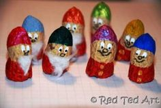 "Peanut Finger Puppets. Originally from Red Ted Art. MAK note: Even if making little ""not"" finger puppets, these are so cute!! I can picture them as bunnies, mice, squirrels, owls, etc etc and all kinds of Christmas elves."