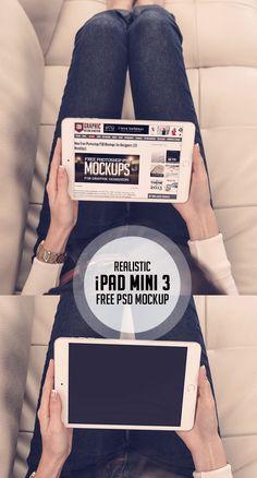 Realistic Free PSD iPad Mini 3 Mockup