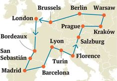 Interrailing is an easy way to see the continent. We plot itineraries that cover the Med, the Alps and an affordable version of the Orient Express Interrail Map, Interrail Europe, Orient Express, Inter Rail, Train Map, Europe Train Travel, Trains, Les Continents, European Vacation