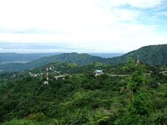 Mountain scenery from Baguio City to Angeles along Marcos Highway. Beautiful nature scenery and mountain scenery from high above to the plain.