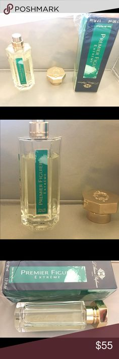 L'Artisan Parfumeur - Premier Figuier Extreme Fresh bottle, plastic wrap partially still on, 1.7 fl oz, authentic exclusive niche Eau de Parfum. Rich fig scent with impression of coconut-like fig nectar, sandalwood, and green leaves. Intoxicating! About 80% still full, please see picture. Paid $105 but am happily discounting here. Adore this scent, just need to clear out & sell as much as I can due to family medical needs. L'Artisan Makeup