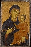 Duccio is the founder of Sienese painting and one of the great figures of Western art. This lyrical work inaugurates the grand tradition in Italian art of envisioning the sacred figures of the Madonna and Child in terms appropriated from real life